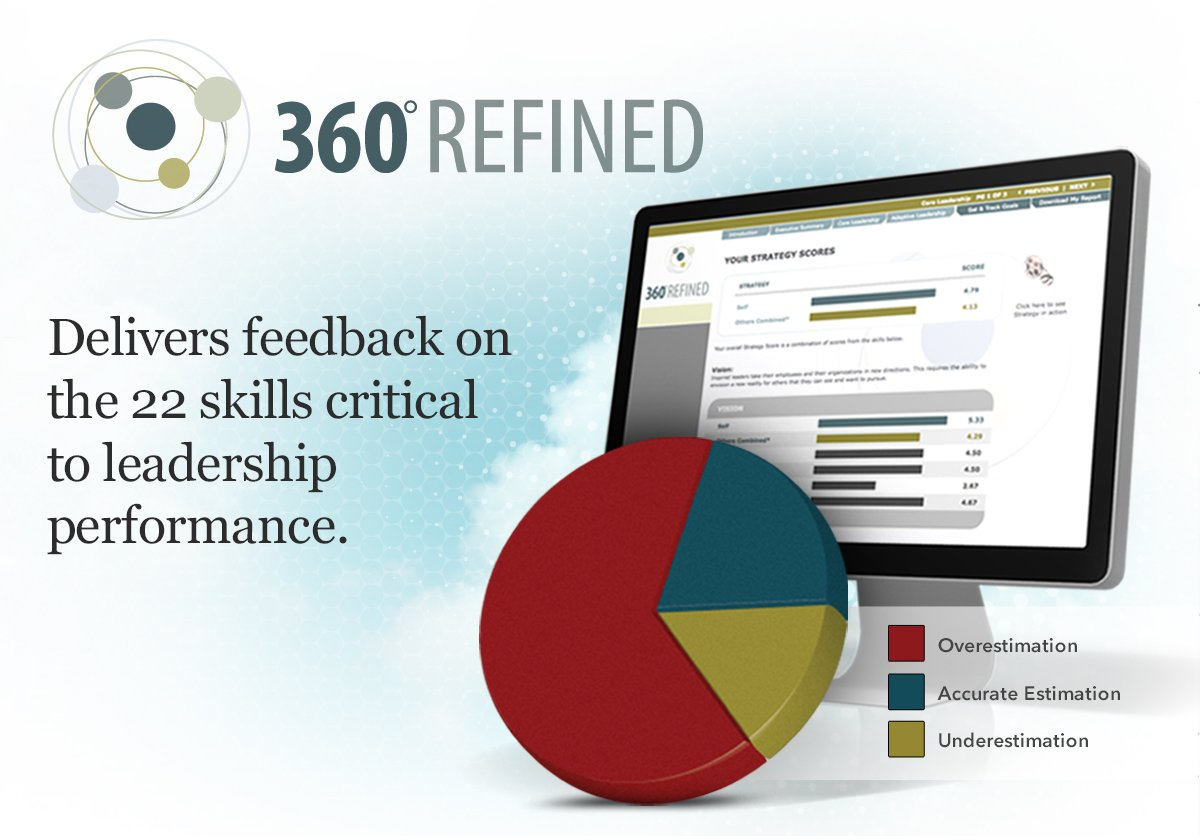 360 Refined is a 360-degree feedback test that shows leaders and managers how they fare in the skills that are most critical to leader job performance. When you take 360 Refined you discover how accurate you are in rating your leadership behavior. This includes an accuracy score that shows the percentage of time you overestimate, under estimate, or accurately rate your performance in the twenty-two leadership skills that get results. 360-degree feedback is a great way for any individual to increase his or her self-awareness.